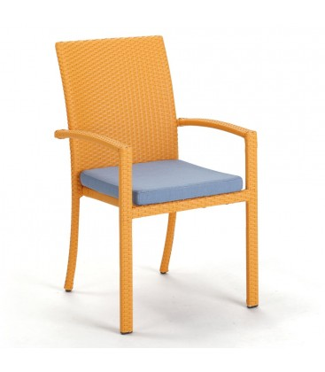 Brisbane Stackable Armchair Embossed Melon / Jeans Blue