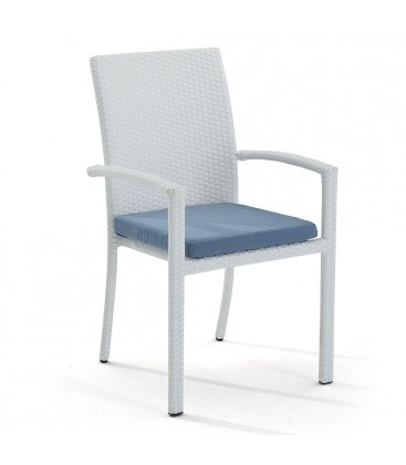 Brisbane Stackable Armchair Embossed White / Jeans Blue