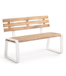 Fidenza 2-Seater Bench Alu White_Teak Natural