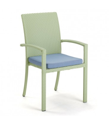 Brisbane Stackable Armchair Embossed Green / Jeans Blue